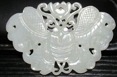 """Large Carved Butterfly Chinese 3""""3/4 X 2""""1/2 White Jade Medallion Pendant"""