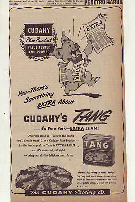 1947 NEWSPAPER AD for Cudahy Tang canned pork loaf - Something Extra, Curly  pig
