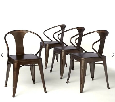 Metal Stacking Chairs 4 Chair Sets Antique Bronze Seats Patio Dining Room