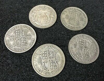 JOB LOT 5 MIXED DATE ENGLISH UK COINS 50% SILVER 2/6 HALF CROWN 69.7g F