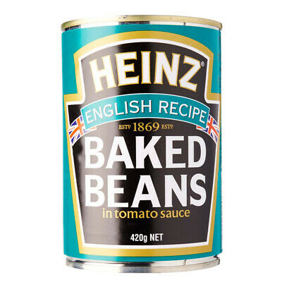 HEINZ BAKED BEANS ENGLISH RECIPE IN TOMATO SAUCE PROTEIN DIETARY FIBRE FOOD 420g