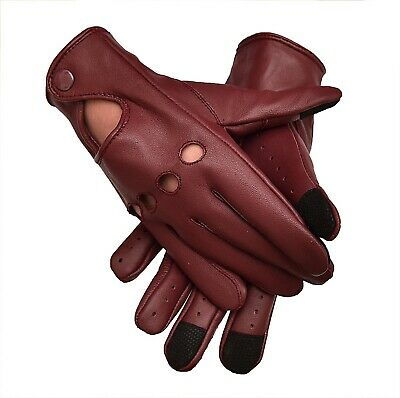 Two Tone Unlined Leather Driving Gloves Cognac//English Tan