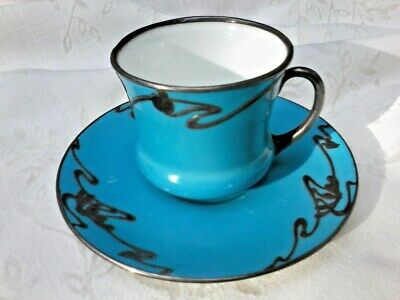 Antique Royal Doulton Porcelain Mini Tea Cup And Saucer with Sterling Silver