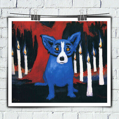 Cartoon Blue Dog HD print canvas art painting home decor wall art picture 16X20