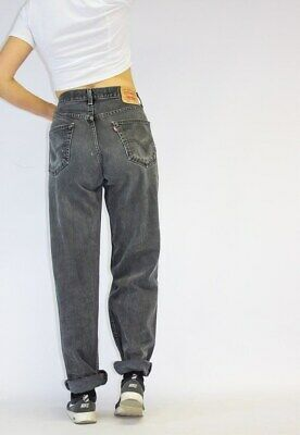 "Vintage 80's HIGH WAISTED LEVIS Tapered Mom JEANS  Black UK 16 34"" Waist"