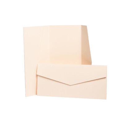 Peach Matte Pocketfold Invites with envelopes. DIY Wedding Card Holders.