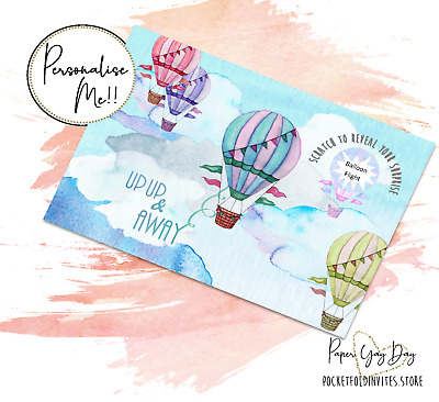 Scratch & Reveal Surprise Trip Card. Travel Card Hot Air Balloon. Holiday Card.
