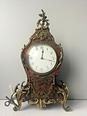 Antique French Boulle Red Mantel Clock in Good Working Order