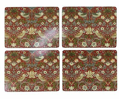 """Set Of 4 Strawberry Thief Red Cork Backed Placemats 40X30X0.6Cm-16X12X0.25"""""""