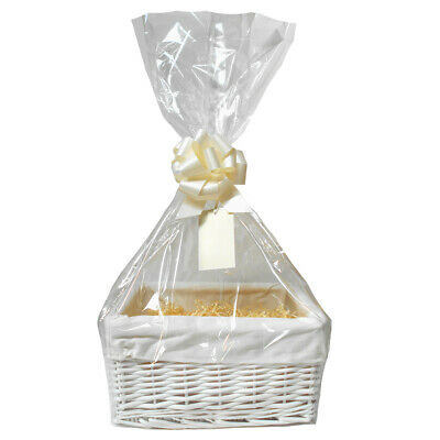 DIY White Baby Gift Basket Hamper Kit - Cream Lining, Shred, Bag, Bow & Gift Tag