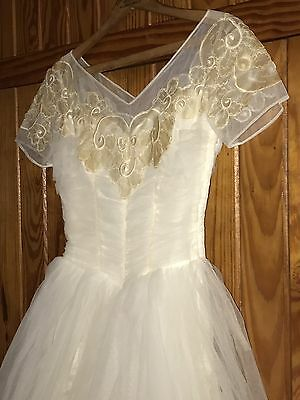 Vtg Wedding Dress 40s 50s 60s Lace Applique Tulle Short Sleeve Ruche Bridal Gown