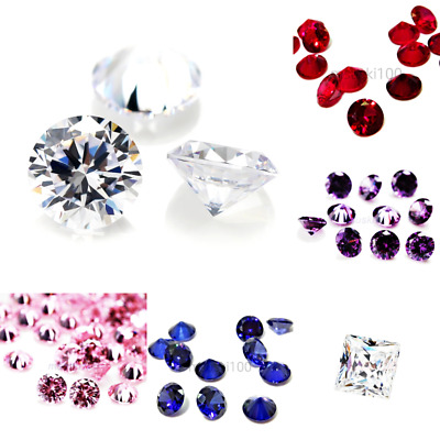 Cubic Zirconia loose gemstones beads jewellery making CZ AAAA Stones 6 colours