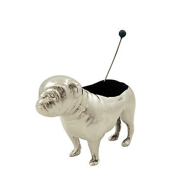 Antique Edwardian Sterling Silver Bull / Pug Dog Pin Cushion - 1906