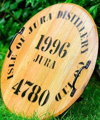 Solid Oak Wooden Whisky Barrel Lid Drinks Pub Tray with Carrying Handles Vintage