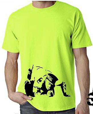 BANKSY COKE COPPER NEON T-SHIRT - Cocaine Line Up Police Cop - Choice Of Colours