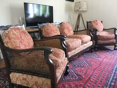 Antique Bergere 3 piece cane chairs
