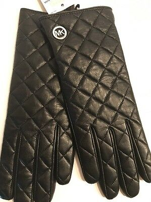 MICHAEL KORS Black Leather Quilted Gloves MK Silver Charm LOGO Sz Small $88