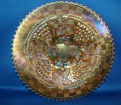 "Northwood Grape & Cable Marigold Carnival Glass 9"" Plate @23"
