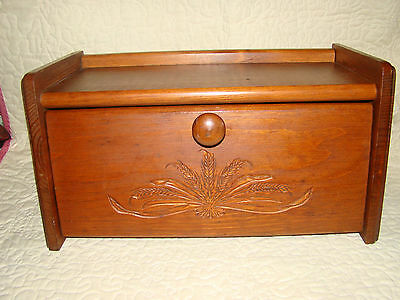 Solid Wood Breadbox with Wheat Design Front Door Vintage @H