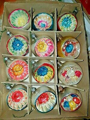 Antique Glass Indent Feather Tree Embossed Ornaments German Japan
