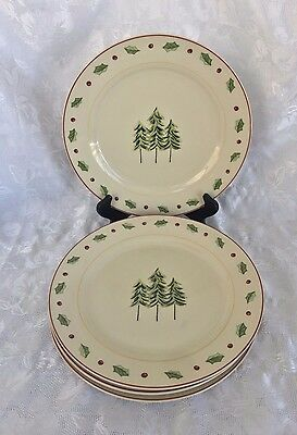 Four Merry Brite Three Tree Winter Holly Berry Dinner Plates Holiday Home
