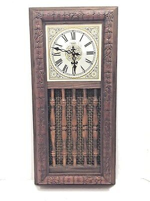 "Clock Verichron Craftsman Style Wood 27"" Qtz Wall WOW!"