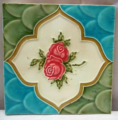 Tile Saji Japan Majolica Art Nouveau Vintage Rose Flower Design Collectibles