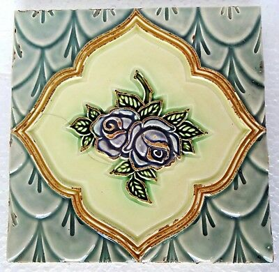 Tile Vintage Majolica Porcelain Ceramic Japan Architecture Collectibles # 189