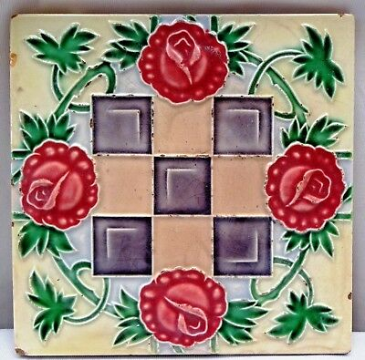 Tile Vintage Porcelain Majolica Art Nouveau Rose Design M.s Tile Works Japan#190
