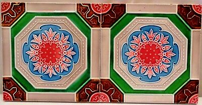 TILE VINTAGE ART NOUVEAU MAJOLICA FM JAPAN MADE CERAMIC PORCELAIN COLLECTI 2Pc#6