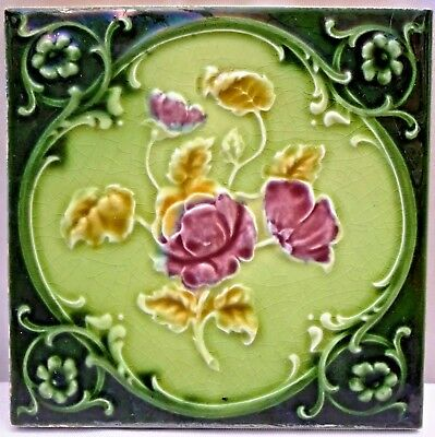 Tile Vintage Porcelain Rose Purple England Art Nouveau Majolica Collectible#103