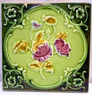Tile Vintage Porcelain Rose Purple England Art Nouveau Majolica Collectibles#110