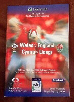 Wales v England Rugby Six Nations February 2001 Programme Excellent Condition