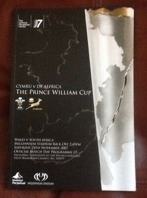 Wales v South Africa Rugby Autumn International 2007 Programme Mint Condition