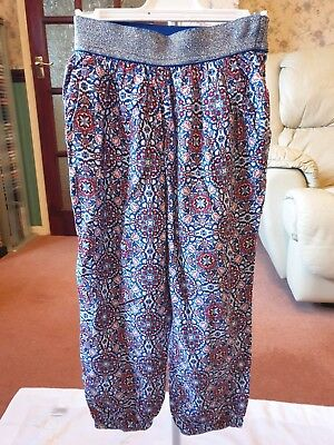 TU Sainsbury's Blue Red White Patterned Trousers Age 4 Excellent Condition