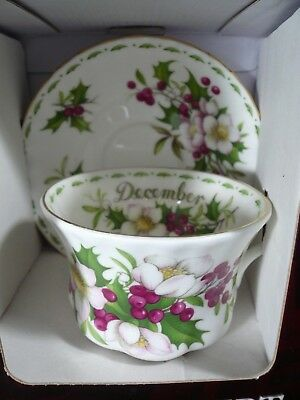 Royal Albert Flower of the Month DECEMBER CHRISTMAS ROSE Cup & Saucer NIB