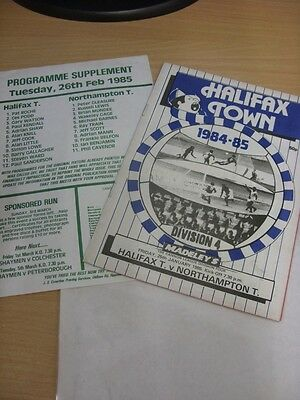 26/02/1985 Halifax Town v Northampton Town [Programme Dated: 25/01/1985, With Si