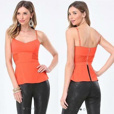 Bebe Coral Cammy Lace Panel Peplum Top Nwt New $69 Xsmall Xs 2