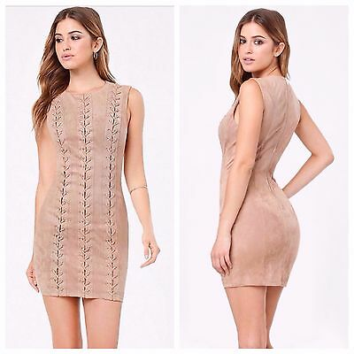Bebe Tan Josie Faux Suede Lace Up Dress New Nwt $159 Medium M 8