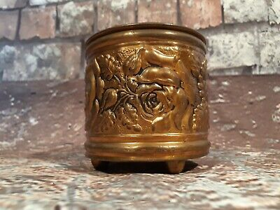 Vintage Old Ornate Decorative Solid Brass Plant pot Trinket Vase Pen Pot Planter