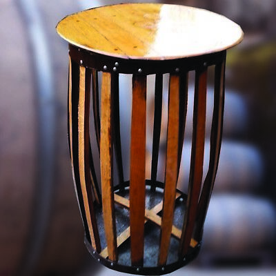 Recycled Solid Oak Whisky Barrel Bar Table   Patio Table   Drinks Table