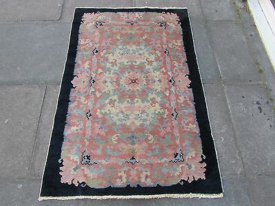 Antique Hand Made Art Deco Oriental Black Pink Blue Wool Chinese Rug 144x95cm