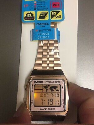 Genuine Rose Gold Casio A500WGA-9D Men's Watch Digital Stainless Steel UK seller