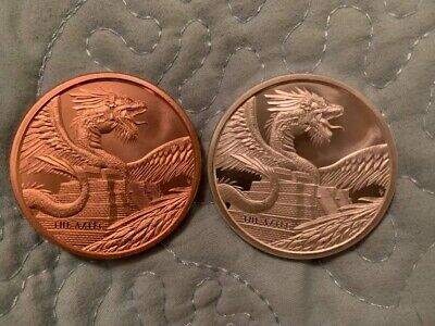 World of Dragons - The Aztec 1 oz silver and 1 oz copper rounds - 1st in series!