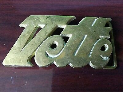 "Vintage 1970s Solid Brass Belt Buckle Chevrolet Corvette ""VETTE"" NOS"