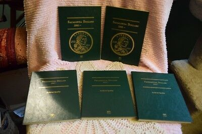 Lot of 5 Sacagawea & Presidential Dollars Coin Books & 65 Coins 2000-2012 $65