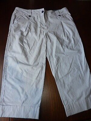 Marks & Spencer Size 12 32W 20L Navy/White Striped Cotton Crop Trousers