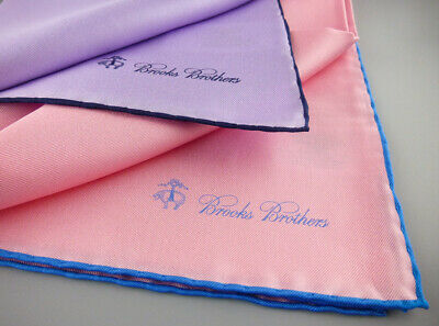 Blue NWOT $135 New 3 BROOKS BROTHERS Pocket Square Handkerchief 100/% Silk Red