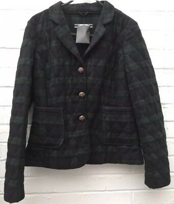 Next Green Tartan Check Wool Blend Short Quilted Padded Jacket Coat Size 14