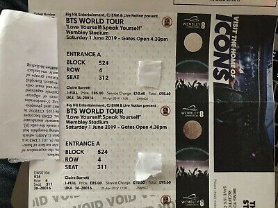 x2 BTS London Wembly Tickets - 1st June